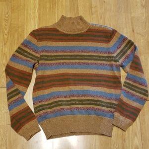 Vintage mockneck striped sweater sz M